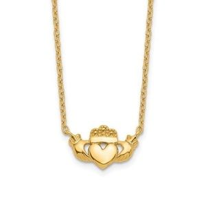 Jewelry - 14K Yellow Gold Celtic Claddagh Necklace